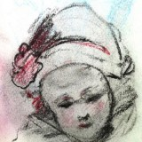 Outdoor Sketch, Little Girl With Red Flower On Hat by Michelle R