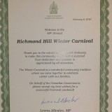 Certificate to the Richmond Hill Winter Carnival Volunteer Team<br>From Leona Alleslev, MP for Aurora & Oak Ridges